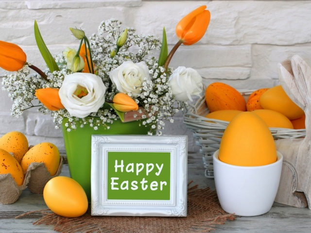 Screenshot №1 pro téma Easter decoration with yellow eggs and bunny 640x480