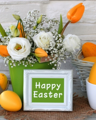 Easter decoration with yellow eggs and bunny - Obrázkek zdarma pro 640x960