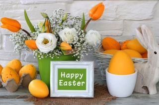 Easter decoration with yellow eggs and bunny sfondi gratuiti per cellulari Android, iPhone, iPad e desktop