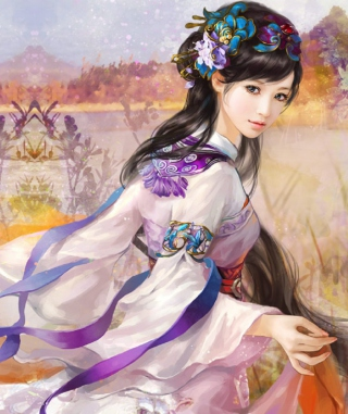 Japanese Woman In Kimono Illustration Picture for iPhone 6 Plus