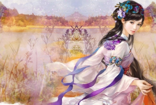 Kostenloses Japanese Woman In Kimono Illustration Wallpaper für 1280x720