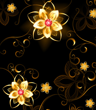 Golden Flowers Background for HTC Titan