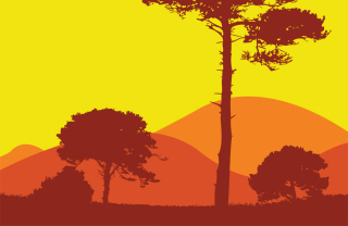 Tree And Hills Wallpaper for Android, iPhone and iPad