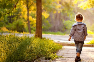 Little Girl Walking In Park Picture for Android, iPhone and iPad