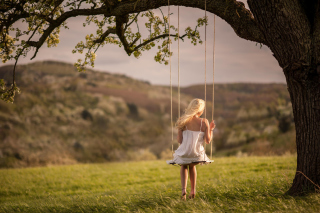 Girl On Tree Swing Background for Android, iPhone and iPad