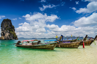 Boats in Thailand Phi Phi Background for Android, iPhone and iPad