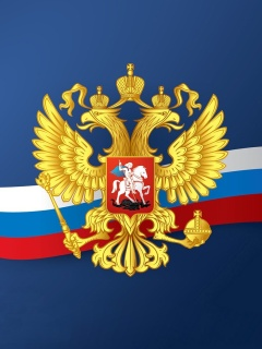 Russian coat of arms and flag wallpaper 240x320