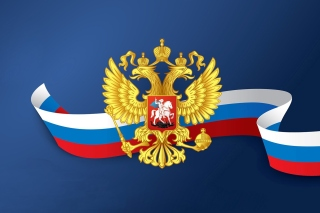 Russian coat of arms and flag Background for 1366x768