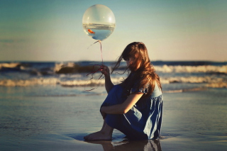 Girl With Balloon On Beach - Obrázkek zdarma pro Fullscreen Desktop 1280x1024