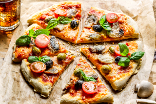 Pizza with olives Wallpaper for Android, iPhone and iPad