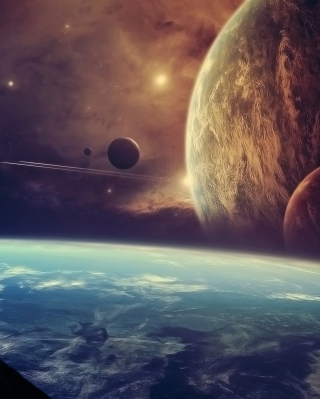 Planets In Open Space sfondi gratuiti per iPhone 4S
