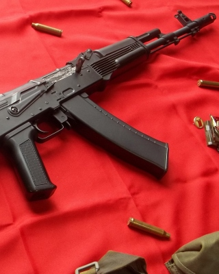 AK47 Assault Rifle and USSR Flag Picture for Nokia Asha 306