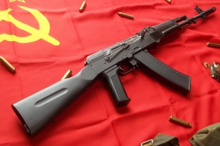 AK47 Assault Rifle and USSR Flag Background for Android, iPhone and iPad