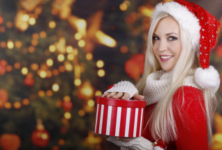 Blonde Santa Claus Girl Background for Android, iPhone and iPad