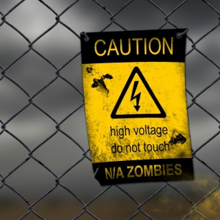 Caution Zombies, High voltage do not touch - Obrázkek zdarma pro iPad mini