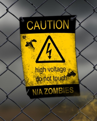 Caution Zombies, High voltage do not touch - Obrázkek zdarma pro Nokia Asha 202