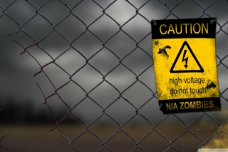 Caution Zombies, High voltage do not touch - Obrázkek zdarma pro Widescreen Desktop PC 1920x1080 Full HD