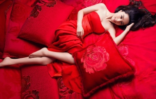 Lady In Red Background for Android, iPhone and iPad