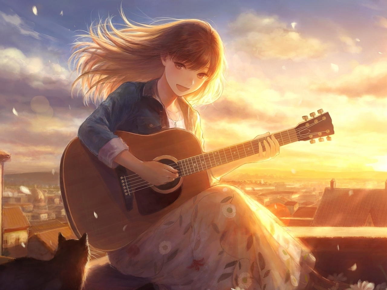 Screenshot №1 pro téma Anime Girl with Guitar 1280x960