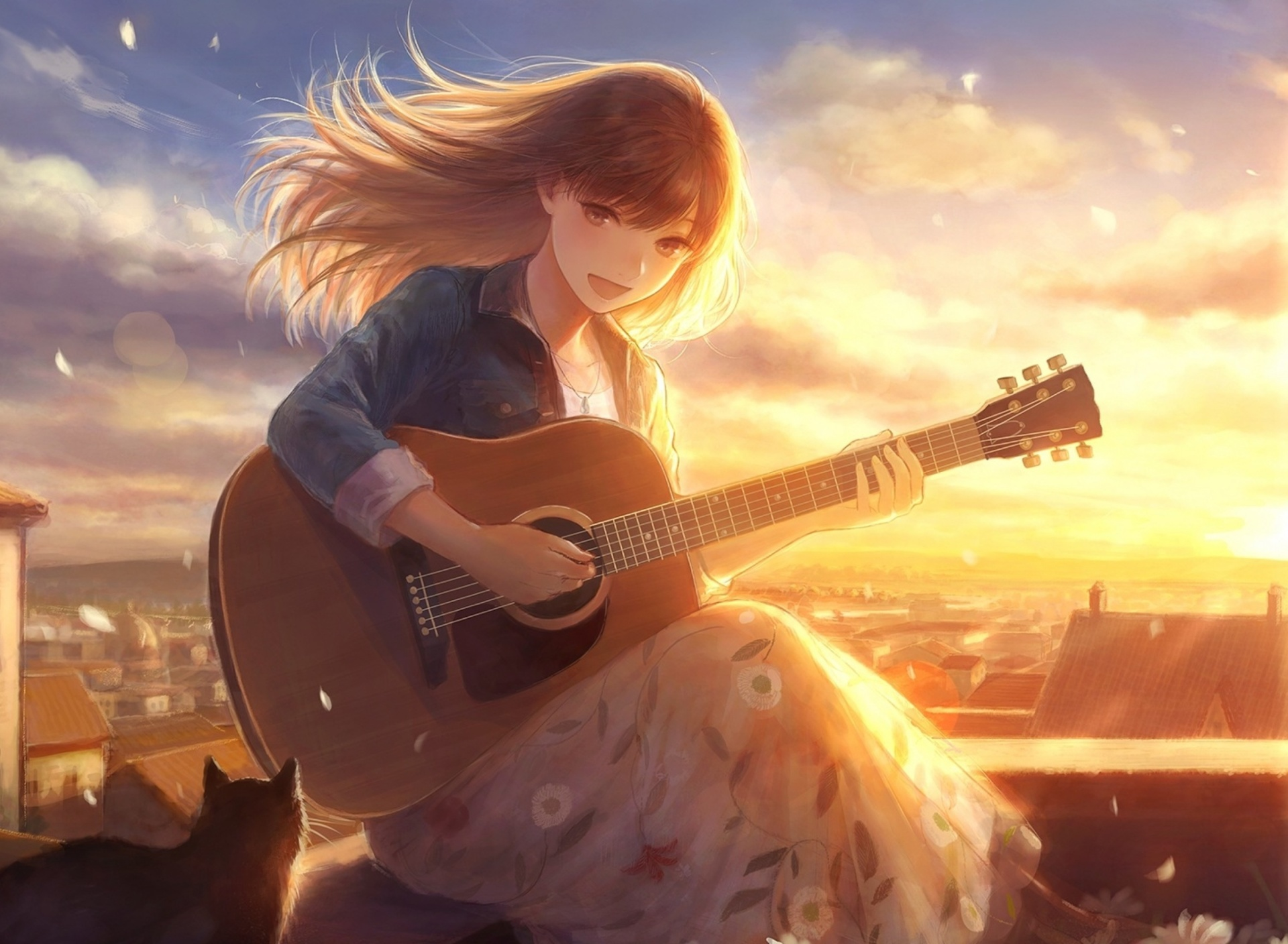 Screenshot №1 pro téma Anime Girl with Guitar 1920x1408