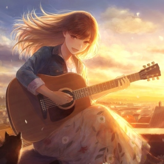 Anime Girl with Guitar papel de parede para celular para iPad 3