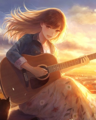 Anime Girl with Guitar papel de parede para celular para Nokia C-Series