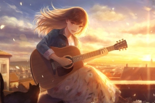 Anime Girl with Guitar Wallpaper for 220x176