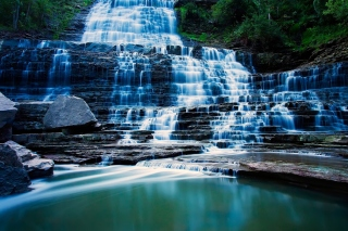 Albion Falls cascade waterfall in Hamilton, Ontario, Canada Background for Desktop 1280x720 HDTV