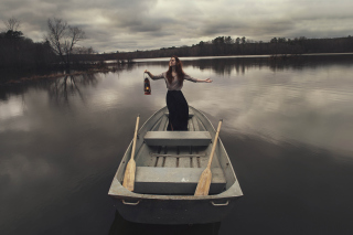 Girl In Boat With Candle Background for Android, iPhone and iPad
