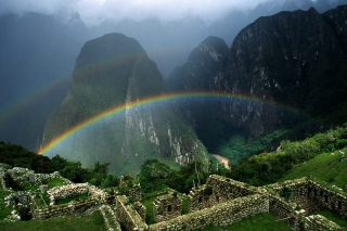 Rainbow Over Machu Picchu sfondi gratuiti per cellulari Android, iPhone, iPad e desktop