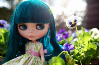 Doll With Blue Hair Background for Android, iPhone and iPad