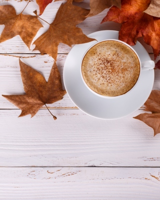 Cozy autumn morning with a cup of hot coffee - Obrázkek zdarma pro iPhone 6 Plus