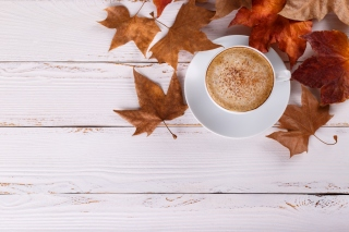 Cozy autumn morning with a cup of hot coffee Background for 1920x1080
