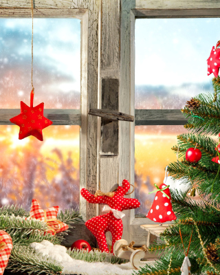 Christmas Window Home Decor Wallpaper for Nokia Asha 306