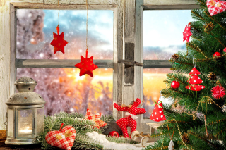 Christmas Window Home Decor Background for Desktop 1280x720 HDTV