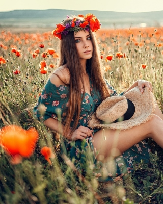 Girl in Poppy Field Wallpaper for 240x320