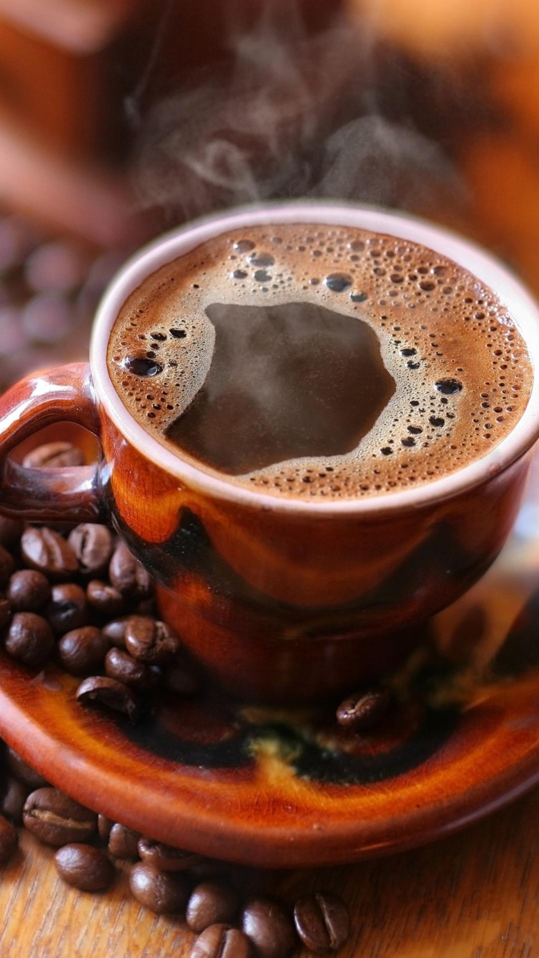 Картинка анимация чашечка кофе, гвоздикой
