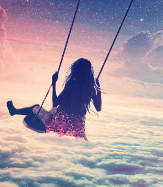 Free Girl On Swing Above Cloudy Sky Picture for HTC Titan