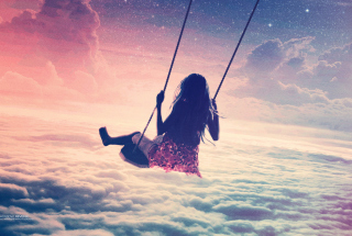 Girl On Swing Above Cloudy Sky - Obrázkek zdarma