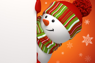 Snowman Waiting For New Year Background for Android, iPhone and iPad