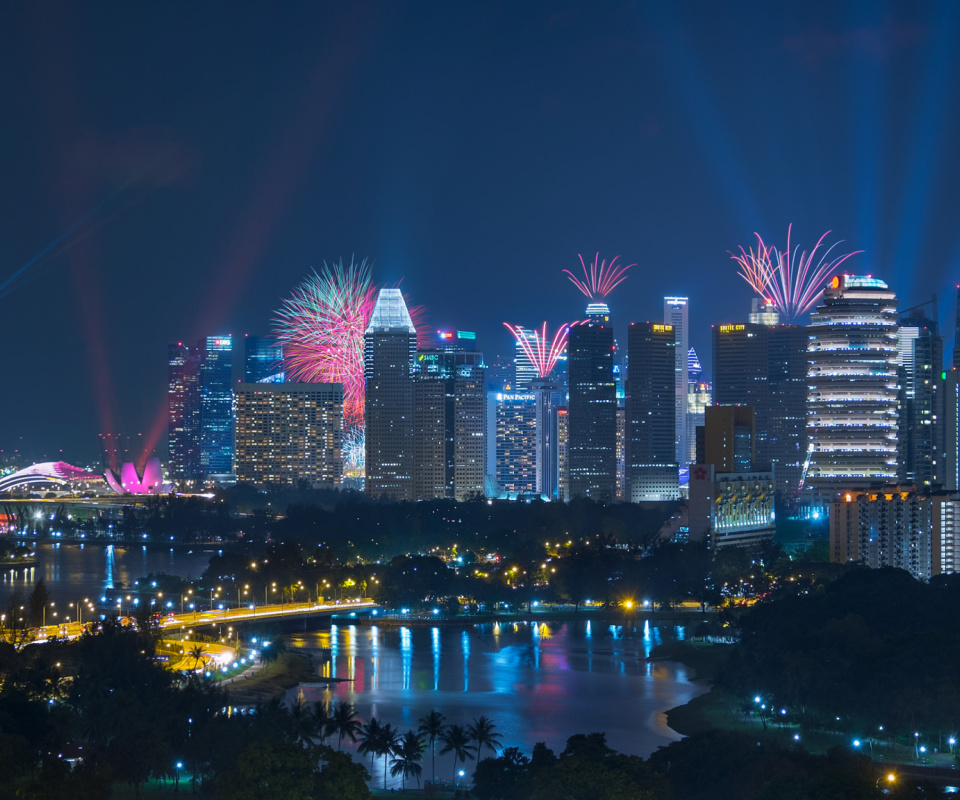 Das Singapore Fireworks Wallpaper 960x800