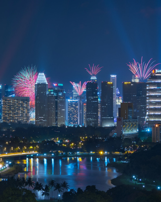 Singapore Fireworks Wallpaper for 240x320
