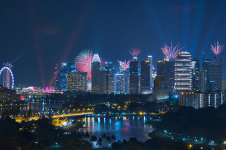 Singapore Fireworks Background for Android, iPhone and iPad