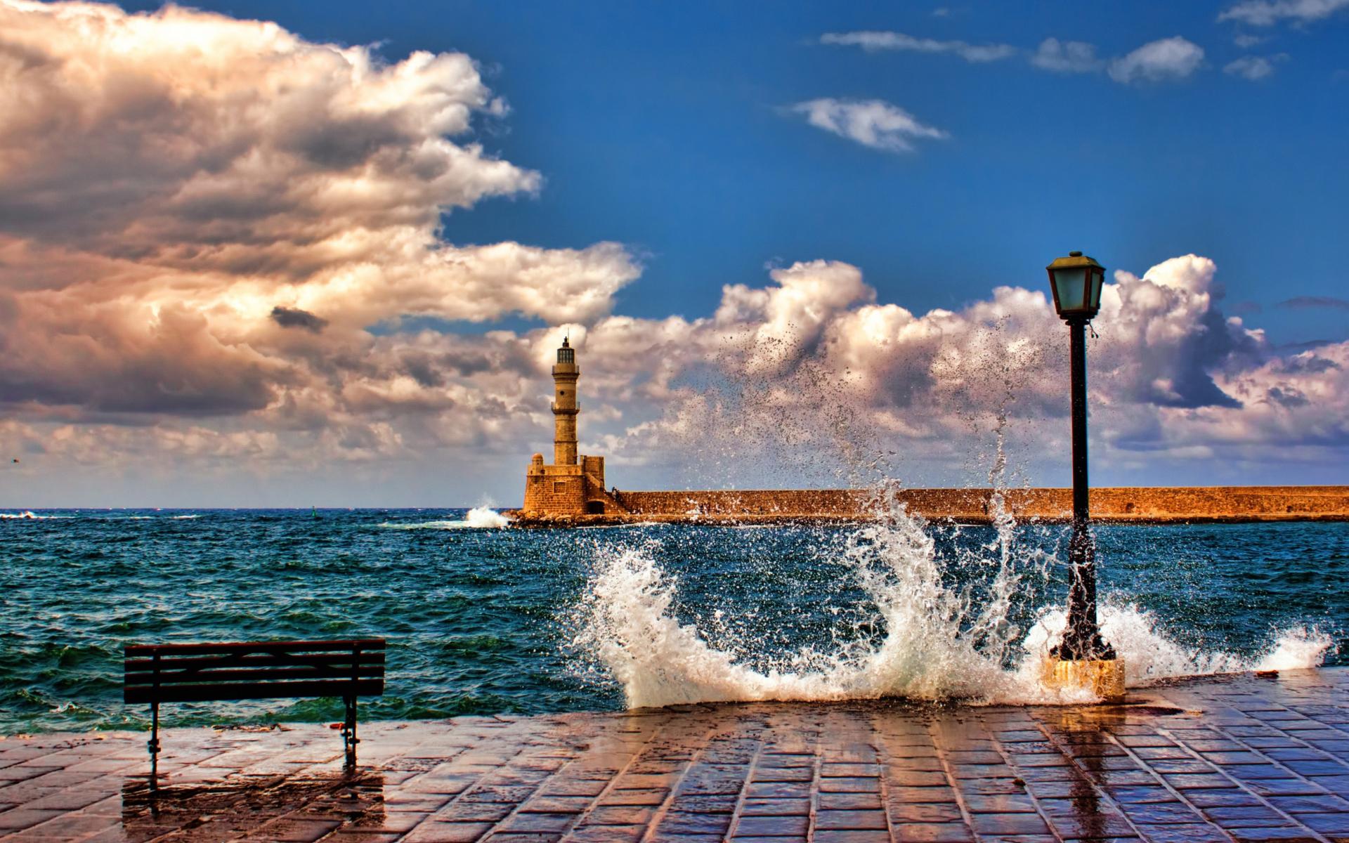 Lighthouse In Greece para Widescreen Desktop PC 1920x1080 Full HD