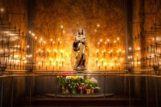 Candles And Flowers In Church Background for Android, iPhone and iPad