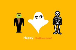 Kostenloses Halloween Costumes Skeleton and Zombie Wallpaper für Nokia X2-01