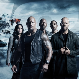 The Fate of the Furious with Vin Diesel, Dwayne Johnson, Charlize Theron sfondi gratuiti per iPad mini