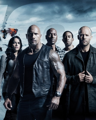 The Fate of the Furious with Vin Diesel, Dwayne Johnson, Charlize Theron - Obrázkek zdarma pro Nokia 300 Asha