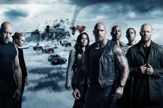 The Fate of the Furious with Vin Diesel, Dwayne Johnson, Charlize Theron sfondi gratuiti per 1024x600