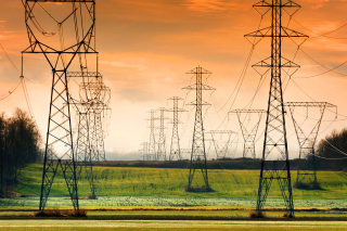 Free Power lines on field Picture for Android, iPhone and iPad